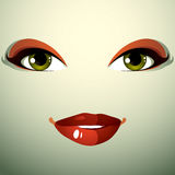 Attractive woman with stylish bright make-up. Sexy Caucasian dis Stock Image