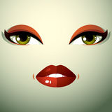 Attractive woman with stylish bright make-up. Sexy Caucasian dis Royalty Free Stock Image