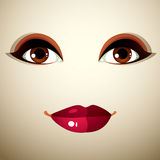 Attractive woman with stylish bright make-up. Sexy Caucasian sad Royalty Free Stock Photo