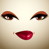 Attractive woman with stylish bright make-up. Sexy Caucasian tri Royalty Free Stock Image