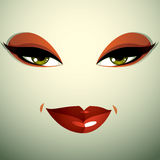 Attractive woman with stylish bright make-up. Sexy Caucasian tri Royalty Free Stock Photos