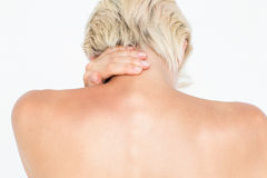 Attractive woman suffering from neck pain Stock Images