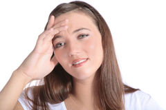 Attractive woman suffers from a headache Royalty Free Stock Photography