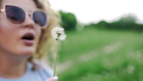 Attractive woman in sun glasses blows the dandelions and they fly away on the wind, beautiful kinky girl blows the. Dandelions to the wind, resting at the green stock video footage