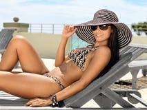 Attractive Woman Sunbathing Stock Photography