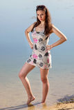 Attractive woman in the sundress Stock Images