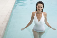 Attractive Woman In Swimming Pool stock images