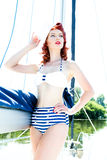 Attractive woman in swimsuit on yacht Royalty Free Stock Images