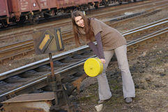 Free Attractive Woman Switches The Points Stock Photos - 19073083