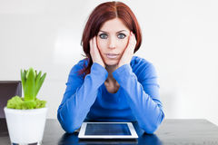 Attractive woman with Tablet PC Royalty Free Stock Image