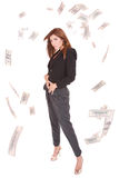 Attractive woman takes lot of 100 dollar bills Stock Photography