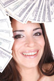 Attractive woman takes lot of 100 dollar bills Stock Image