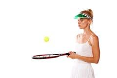 Attractive woman tennis player Stock Photos