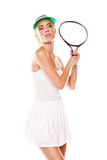 Attractive woman with tennis racket Royalty Free Stock Photography
