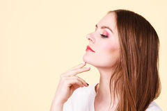 Attractive woman with thinking and contemplating Stock Image