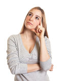 Attractive woman thinking about the future Stock Photography