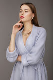 Attractive woman thinking. royalty free stock photography