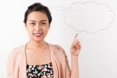 Attractive woman with thought bubble Royalty Free Stock Photo