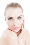 Attractive woman touching her beautiful face Royalty Free Stock Photos