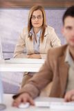 Attractive woman at training course Royalty Free Stock Photography