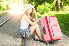 Attractive woman traveling Royalty Free Stock Image
