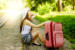 Attractive woman traveling Royalty Free Stock Photos
