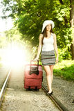 Attractive woman traveling Stock Images