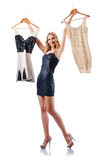 Attractive woman trying clothing on white Royalty Free Stock Photography