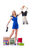 Attractive woman trying new clothing. On white Royalty Free Stock Images