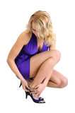 Attractive woman trying on shoes stock image