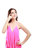 Attractive woman trying to remember something Stock Photography