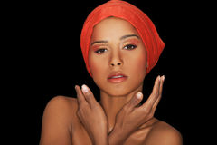 Attractive woman in turban. Closeup face. Royalty Free Stock Photos