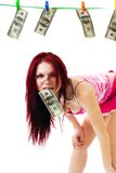 Attractive woman with us dollars Stock Photography