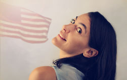 Attractive woman with USA flag Stock Photos