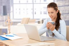 Attractive woman using laptop at home drinking tea Stock Photos