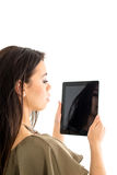 Attractive woman using a tablet computer Stock Photos