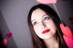 Attractive woman on Valentine's day Royalty Free Stock Images