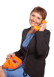 Attractive woman  with vintage telephone Royalty Free Stock Photography