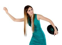 Attractive woman with vinyl disc Stock Images