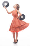 Attractive woman with vinyl disc Royalty Free Stock Photography