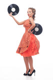 Attractive woman with vinyl disc Stock Photo