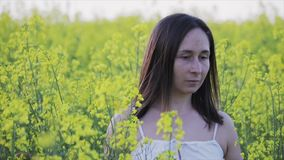 An attractive woman walks across a yellow rapeseed field. Girl resting in the fresh air, beautiful summer landscape. stock footage