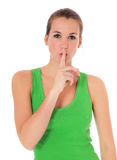 Attractive woman wants you to keep a secret Stock Photo