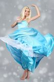Attractive woman wearing blue dress Royalty Free Stock Photography