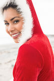 Attractive woman wearing a christmas styled jumper Royalty Free Stock Images