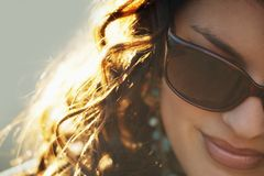 Attractive Woman Wearing Designer Sunglasses Stock Photo