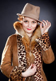 Attractive      woman wearing  felt hat Stock Images