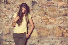 Attractive woman wearing modern casual clothes and posing Royalty Free Stock Images