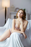 Attractive woman wearing pink lingerie Royalty Free Stock Image