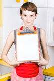 Woman with blank recipe board Royalty Free Stock Images